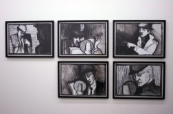 Everything is Connected, storyboard drawings, charcoal on paper, 2007