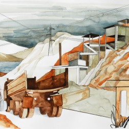 Eroded Road / 2010, 65 x 50 cm, watercolor, marker and pencil on paper