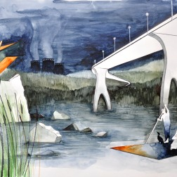 The Lake and the Raft / 2010, 65 x 50 cm, watercolor, marker and pencil on paper