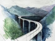Corridor 5c / 2010, 65 x 50 cm, watercolor, marker and pencil on paper