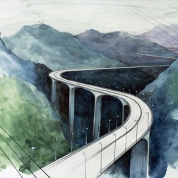Corridor 5c / 2010, 65 x 50 cm, watercolor, marker and pencil on paper