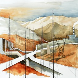 Field of Antennas / 2010, 65 x 50 cm, watercolor, marker and pencil on paper