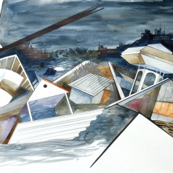 Houses on Stilts / 2010, 65 x 50 cm, watercolor, marker and pencil on paper