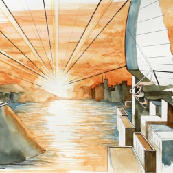 To Greet the Sun / 2010, 65 x 50 cm, watercolor, marker and pencil on paper